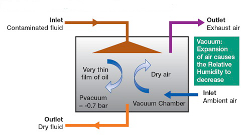 Water removal vacuum dehydrator process